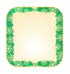 Button square christmas spruce and snowflakes vector