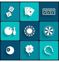 Casino and gambling flat icons vector