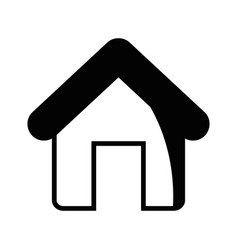 contour house object with roof and door vector image