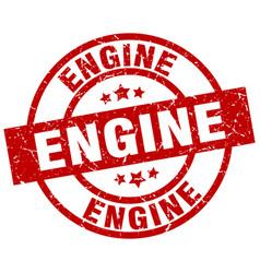 engine round red grunge stamp vector image vector image
