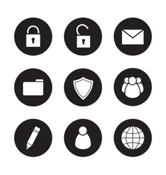 File manager black icons set vector