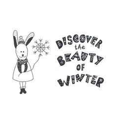 Funny rabbit and winter quote nursery art vector