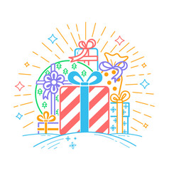 Gifts linear style vector