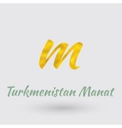 Golden symbol of turkmenistan manat vector