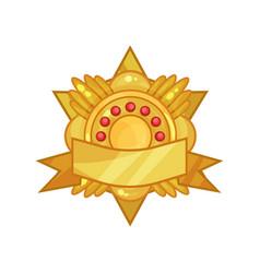 gorgeous golden reward medal or badge decorated vector image