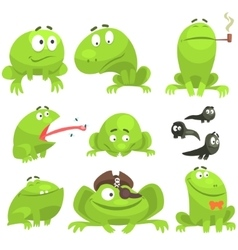 Green frog funny character set of different vector