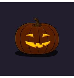 Halloween Grinning Pumpkin on Dark Background vector image vector image