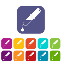 Pipette icons set flat vector
