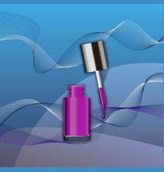 purple nail polish in glass bottle open lid and vector image