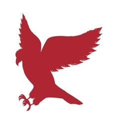 Red silhouette eagle hunting icon vector
