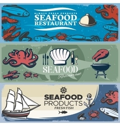 Seafood Banner Set vector image