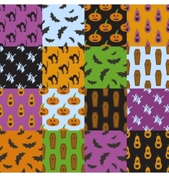 Set of simple patterns for Halloween design vector image