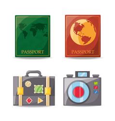 Set passport and travel tools vector