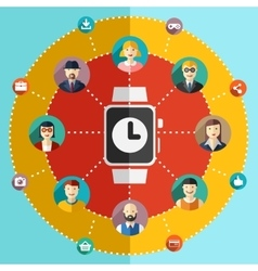 Social network flat watch avatars vector image