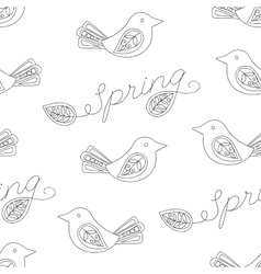 Spring seamless pattern with birds vector image