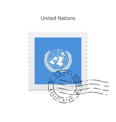 United nations flag postage stamp vector