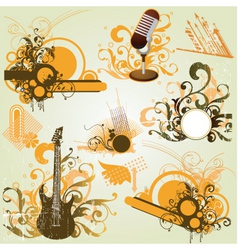 vintage retro music elements vector image vector image