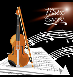 Violin instrument with music sheets vector