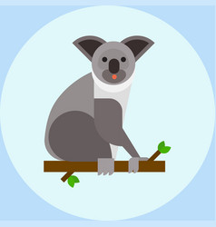 young koala sitting on tree branch australia bear vector image