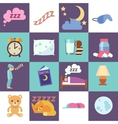 Sleep time flat icons vector