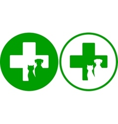 Green veterinary icons vector