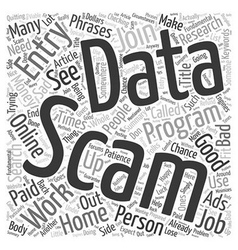 Data entry scams word cloud concept vector