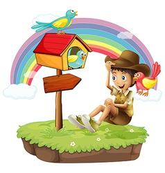 An island with a boy near the arrow board vector image