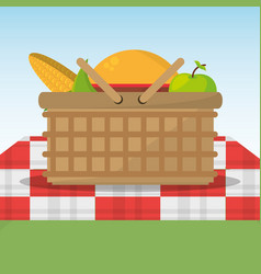 Picnic basket full food red and white blanket vector