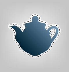 tea maker kitchen sign  blue icon with vector image