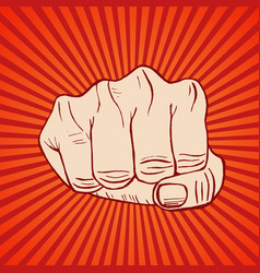 Fist hand draw sketch vector