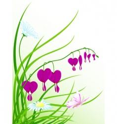 Green grass flowers and butterfly vector