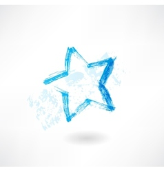 Blue star grunge icon vector