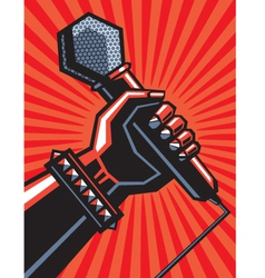 Hand with a microphone vector