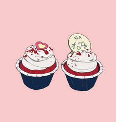 4th of july cupcakes party sketch vector