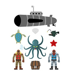 Marine set symbol divers and treasure chest vector