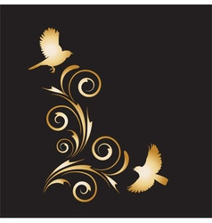 Gold vignette with abstract ornament and birds vector