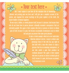Background text cat writes vector