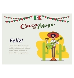 Feliz Cinco de Mayo Mexican is holding the vector image