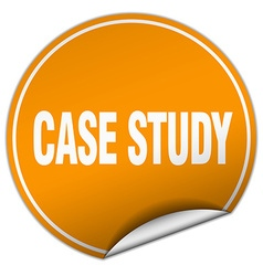 Case study round orange sticker isolated on white vector