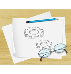 Planning Cogs Paper vector image