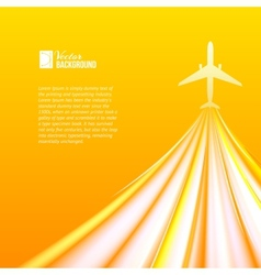 Airplane over orange background vector