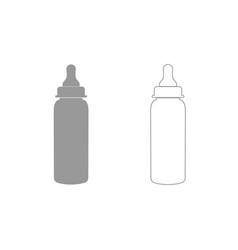 Baby bottle symbol grey set icon vector
