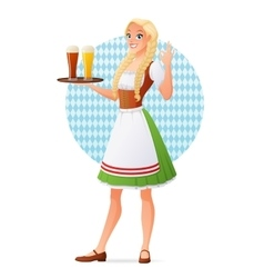 Beautiful blond woman in traditional Bavarian vector image