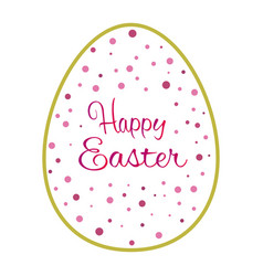 Beautiful golden outline easter egg with pink dots vector