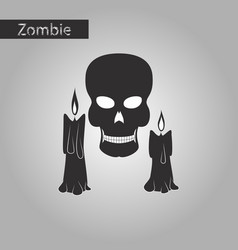 Black and white style icon of candle skull vector