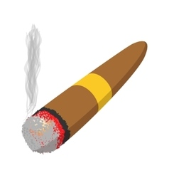 Brown cigar burned cartoon icon vector image
