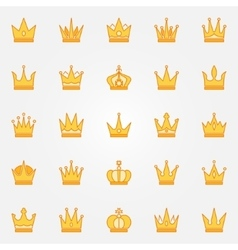 Crown yellow icons vector image vector image