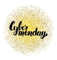 Cyber monday lettering over gold vector