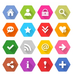 Flat basic icon set rounded hexagon web button vector