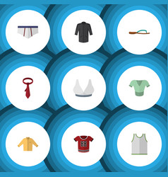 Flat icon clothes set of cravat singlet t-shirt vector